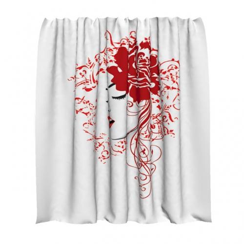 """Занавеска для ванной с изображение """"Силуэт девушки"""""""