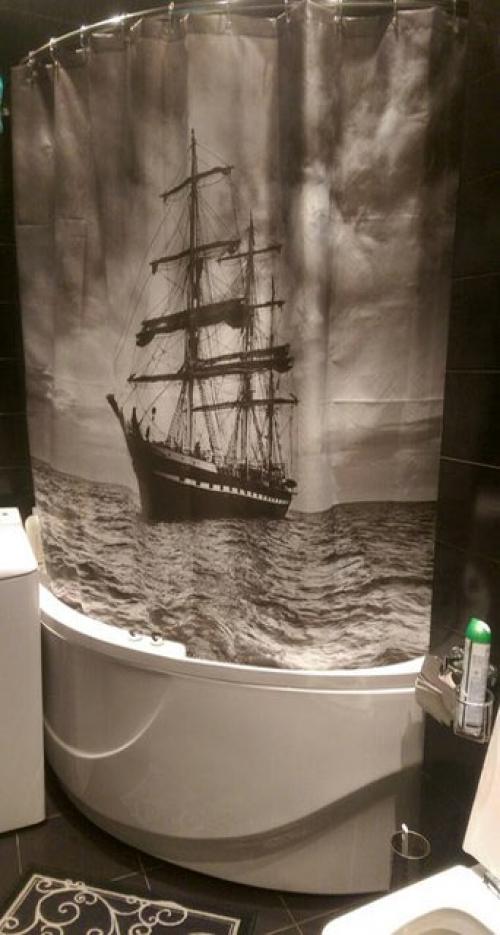 Шторка для ванной с изображением Парусника