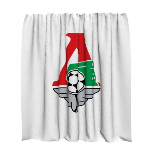 Шторка для ванной на которую нанесен логотип футбольного клуба Локомотив
