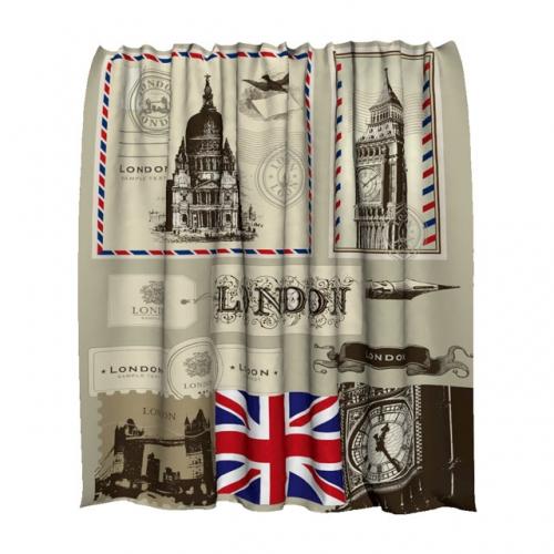 Штора для ванной тканевая Лондон