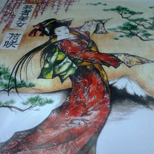 Тканевая шторка для ванной с рисунком Девушка с сакурой