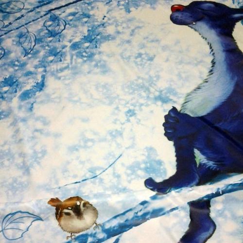 Шторка для ванной с рисунком Котик
