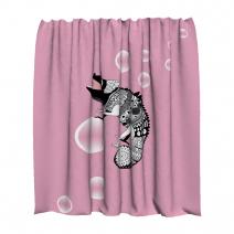 Штора для ванной розовая с хамелеоном