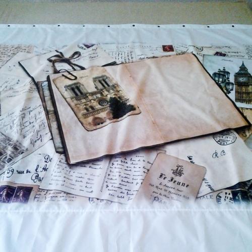 Шторка для ванной с рисунком Винтажные письма
